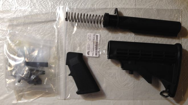 AR15 PSA lower receiver parts kit with stock and grip